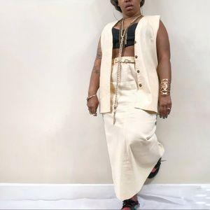 90's Vintage Linen 2-Piece Vest & Maxi Skirt Set L
